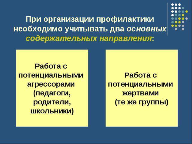 При организации профилактики необходимо учитывать два основных содержательны...