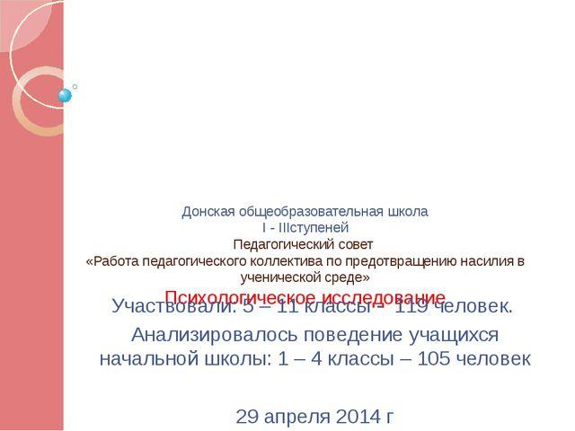Донская общеобразовательная школа I - IIIступеней Педагогический совет «Работ...
