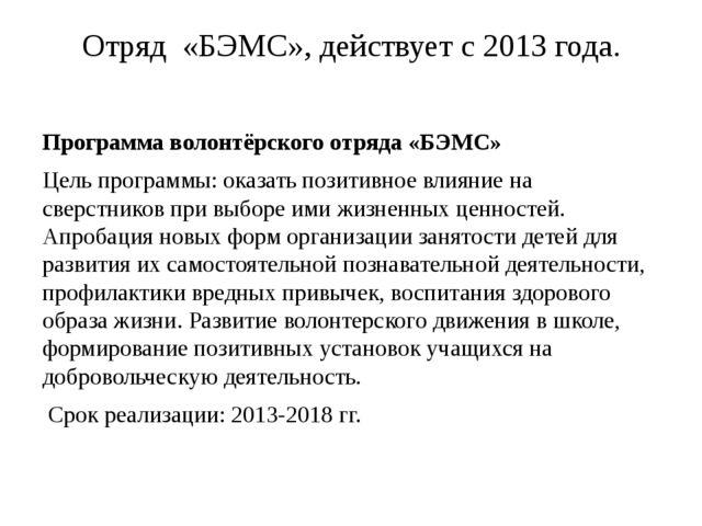 Отряд «БЭМС», действует с 2013 года. Программа волонтёрского отряда «БЭМС» Це...