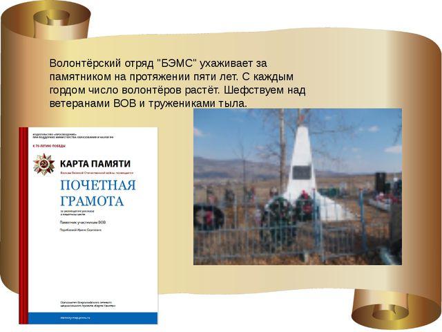 """Волонтёрский отряд """"БЭМС"""" ухаживает за памятником на протяжении пяти лет. С..."""