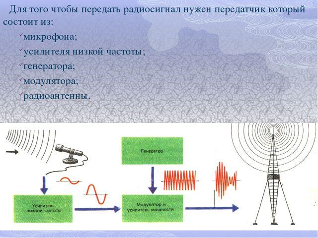 Для того чтобы передать радиосигнал нужен передатчик который состоит из: микр...