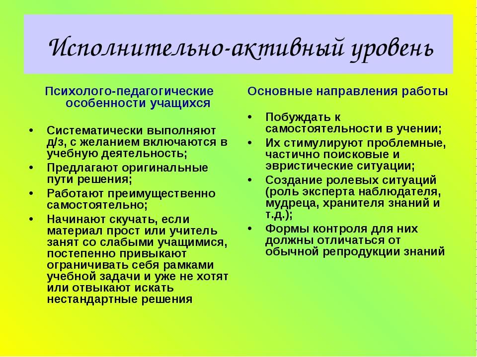 Исполнительно-активный уровень Психолого-педагогические особенности учащихся...
