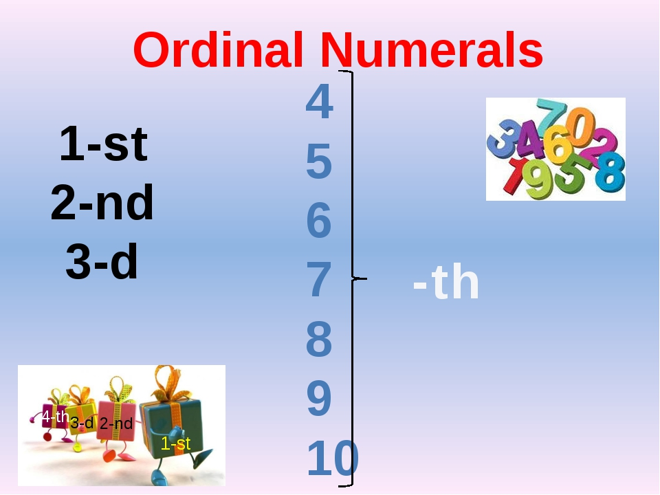 Ordinal Numerals 1-st 2-nd 3-d 4 5 6 7 8 9 10 -th 1 1-st 2-nd 3-d 4-th