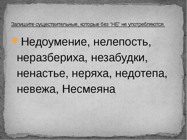 Недоумение, нелепость, неразбериха, незабудки, ненастье, неряха, недотепа, не...