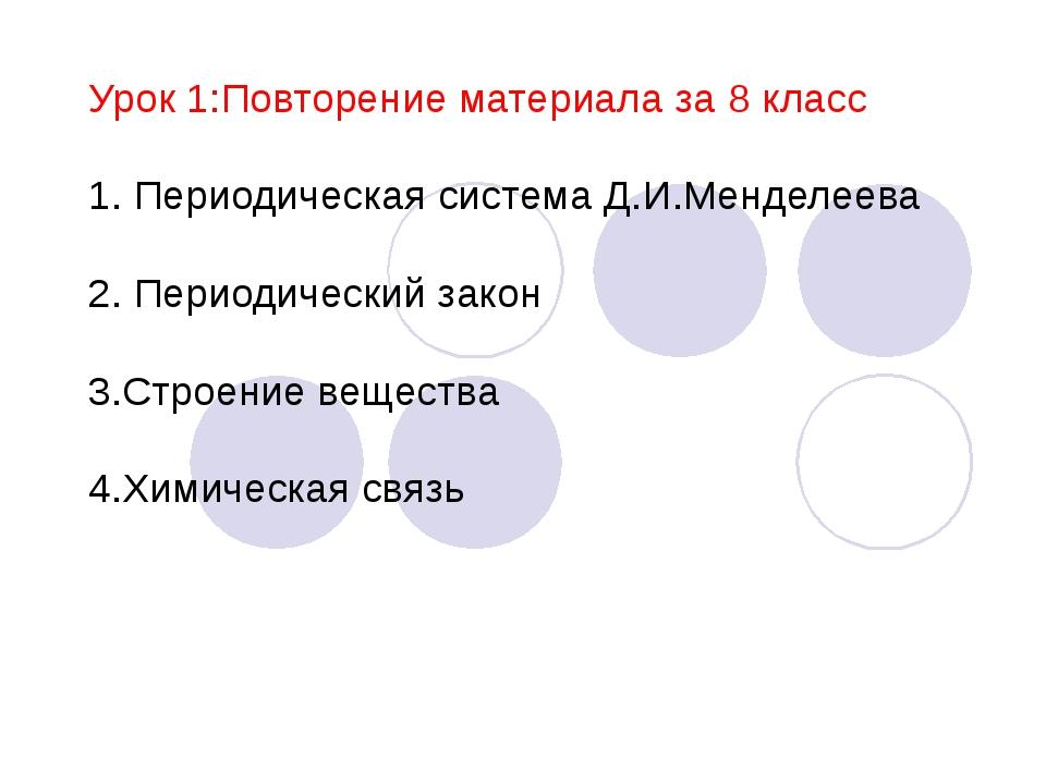 Урок 1:Повторение материала за 8 класс 1. Периодическая система Д.И.Менделеев...