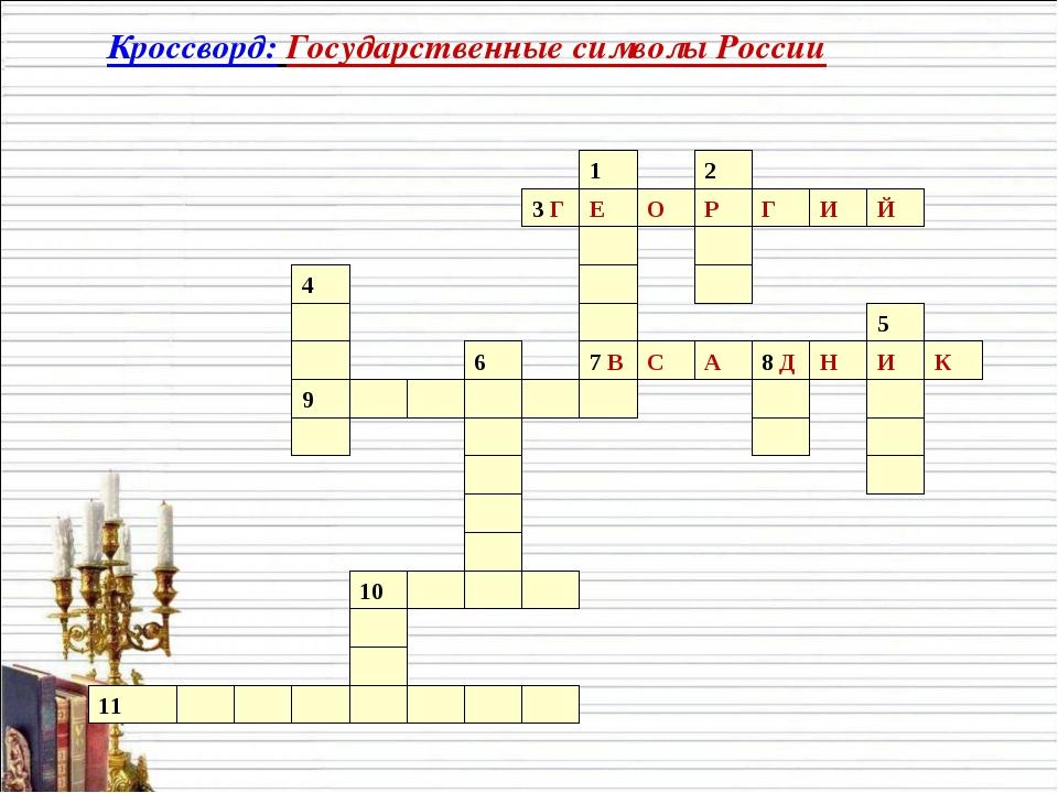 Кроссворд: Государственные символы России