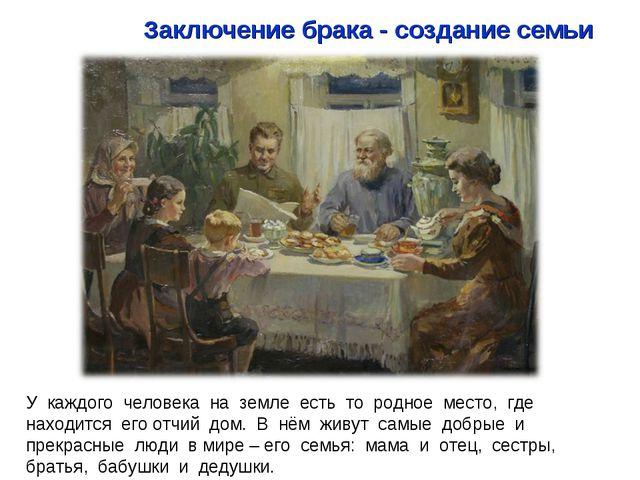 У каждого человека на земле есть то родное место, где находится его отчий дом...