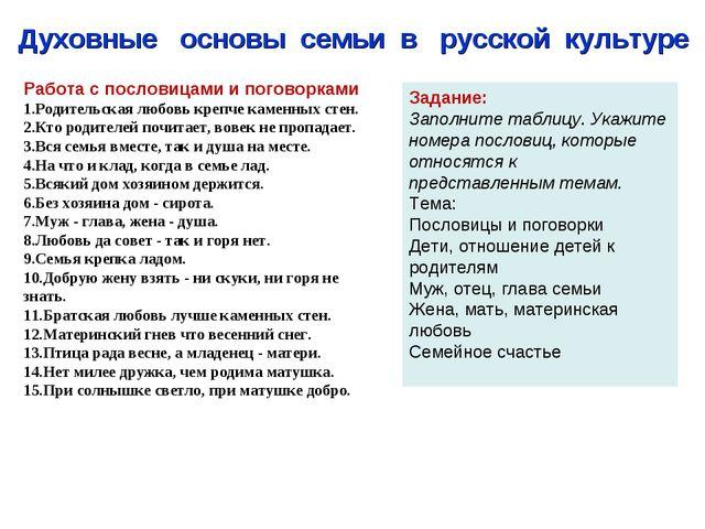 Духовные основы семьи в русской культуре Работа с пословицами и погово...