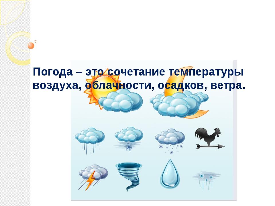 Погода – это сочетание температуры воздуха, облачности, осадков, ветра.