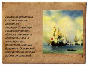 Азовский флот был создан всего за несколько месяцев.Благодаря Азовскому флот