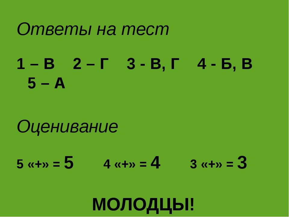 Ответы на тест 1 – В 2 – Г 3 - В, Г 4 - Б, В 5 – А Оценивание 5 «+» = 54...