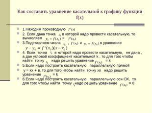 Как составить уравнение касательной к графику функции f(х) 1.Находим производ