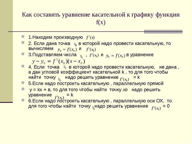 Как составить уравнение касательной к графику функции f(х) 1.Находим производ...
