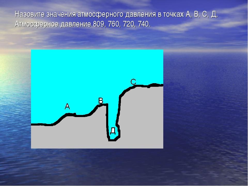 Назовите значения атмосферного давления в точках А, В, С, Д. Атмосферное давл...
