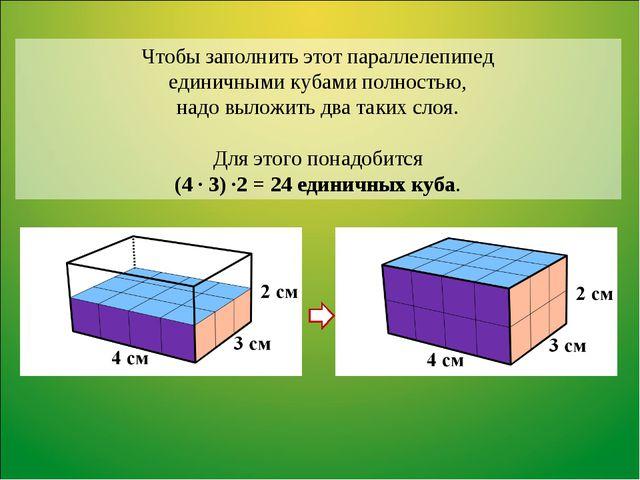 Чтобы заполнить этот параллелепипед единичными кубами полностью, надо выложит...