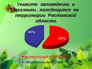 Укажите заповедники и заказники , находящиеся на территории Ростовской области.