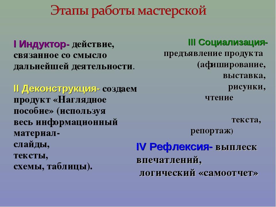 I Индуктор- действие, связанное со смысло дальнейшей деятельности. II Деконс...