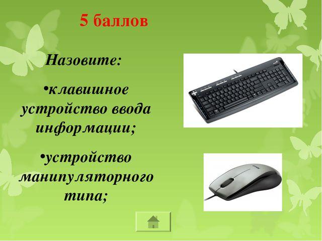 Назовите: клавишное устройство ввода информации; устройство манипуляторного т...