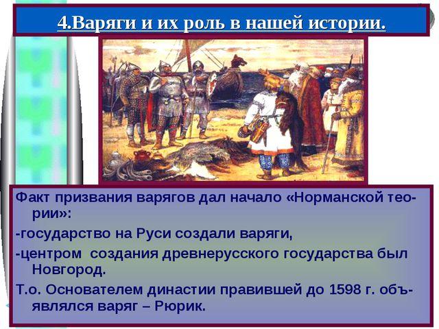 Факт призвания варягов дал начало «Норманской тео-рии»: -государство на Руси...