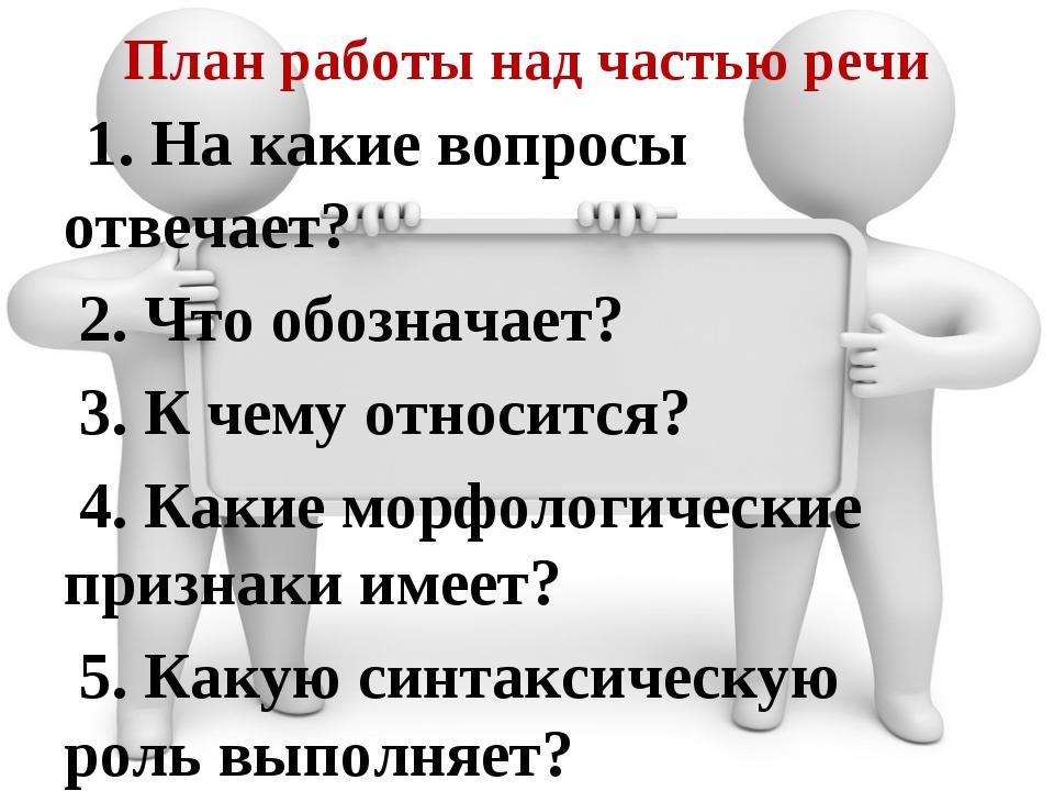План работы над частью речи 1. На какие вопросы отвечает? 2. Что обозначает?...