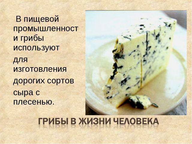 В пищевой промышленности грибы используют для изготовления дорогих сортов сы...