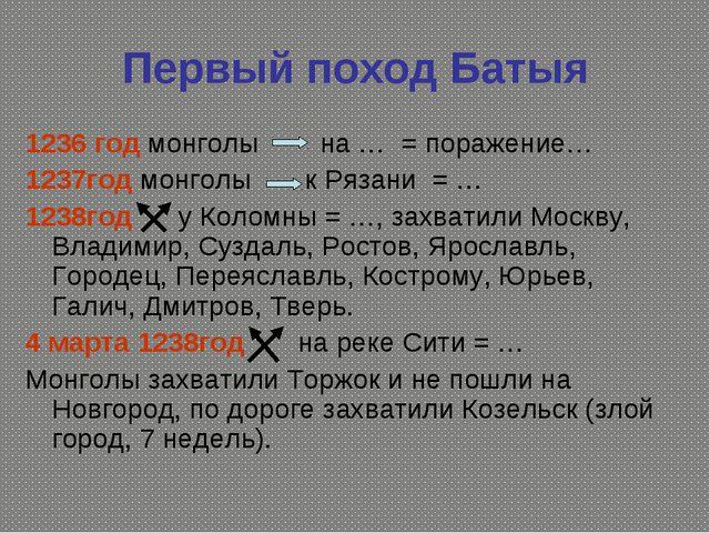 Первый поход Батыя 1236 год монголы на … = поражение… 1237год монголы к Рязан...