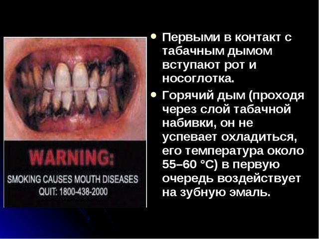 Первыми в контакт с табачным дымом вступают рот и носоглотка. Горячий дым (пр...