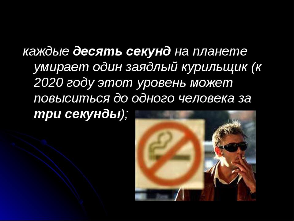 каждые десять секунд на планете умирает один заядлый курильщик (к 2020 году э...