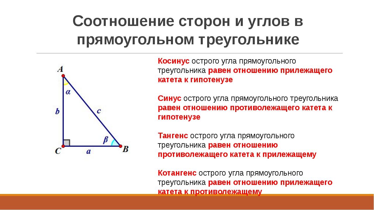 Соотношение сторон и углов в прямоугольном треугольнике Косинус острого угла...