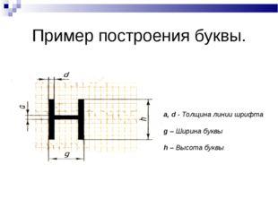 Пример построения буквы. a, d - Толщина линии шрифта g – Ширина буквы h – Выс