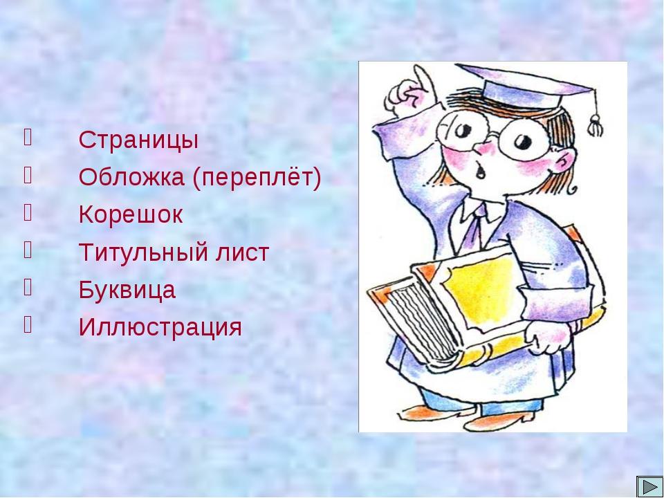 Страницы Обложка (переплёт) Корешок Титульный лист Буквица Иллюстрация