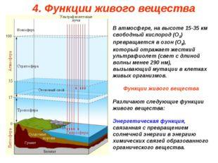 В атмосфере, на высоте 15-35 км свободный кислород (О2) превращается в озон (
