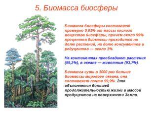 5. Биомасса биосферы Биомасса биосферы составляет примерно 0,01% от массы кос