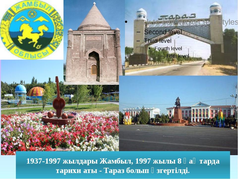 1937-1997 жылдары Жамбыл, 1997 жылы 8 қаңтарда тарихи аты - Тараз болып өзге...