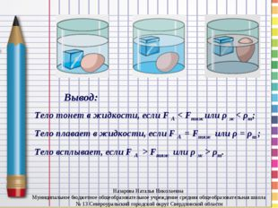 Вывод: Тело тонет в жидкости, если F A < Fтяж или ρ ж < ρт; Тело плавает в ж