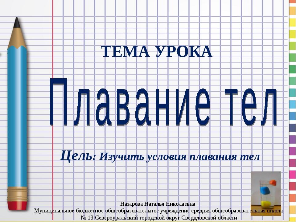 ТЕМА УРОКА Цель: Изучить условия плавания тел Назарова Наталья Николаевна Мун...