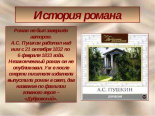 История романа Роман не был завершён автором. А.С. Пушкин работал над ним с 2