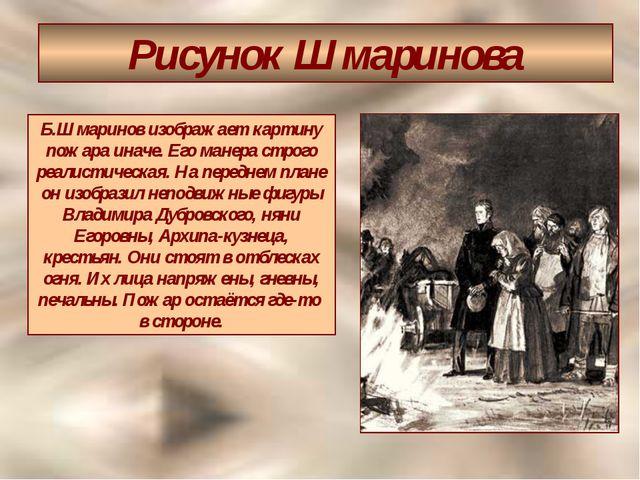 Рисунок Шмаринова Б.Шмаринов изображает картину пожара иначе. Его манера стро...