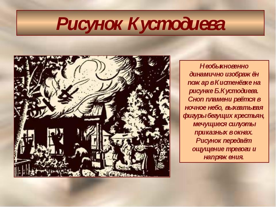 Рисунок Кустодиева Необыкновенно динамично изображён пожар в Кистенёвке на ри...