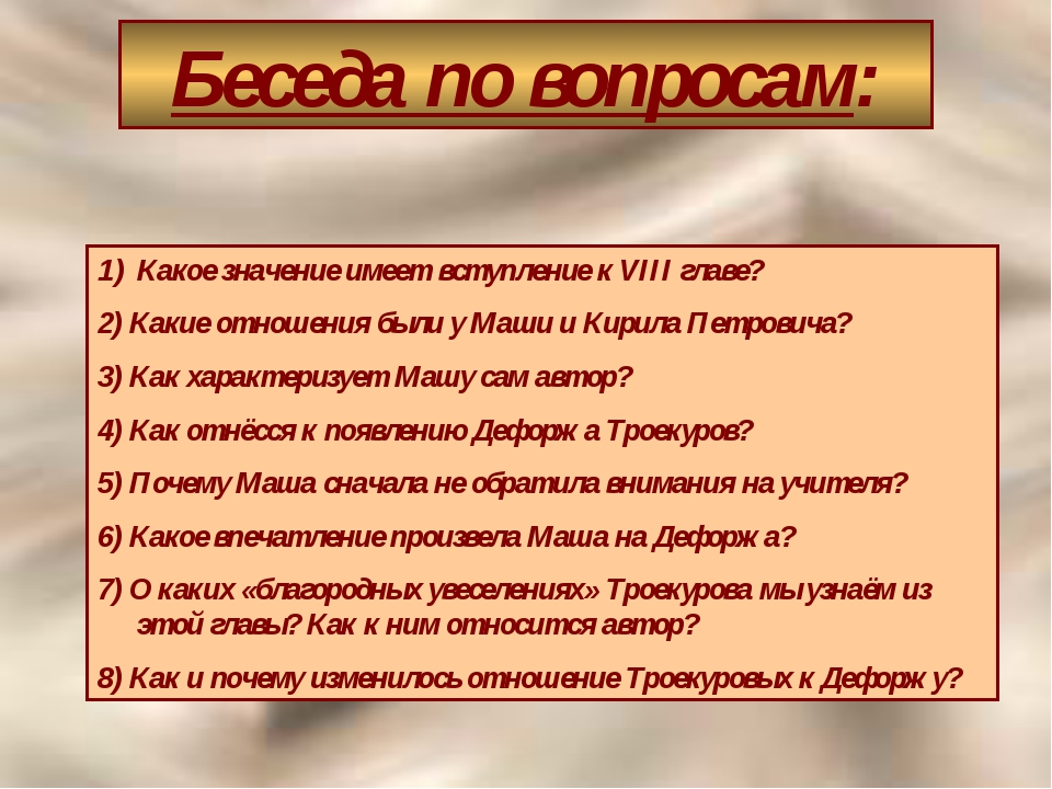 Беседа по вопросам: Какое значение имеет вступление к VIII главе? 2) Какие от...