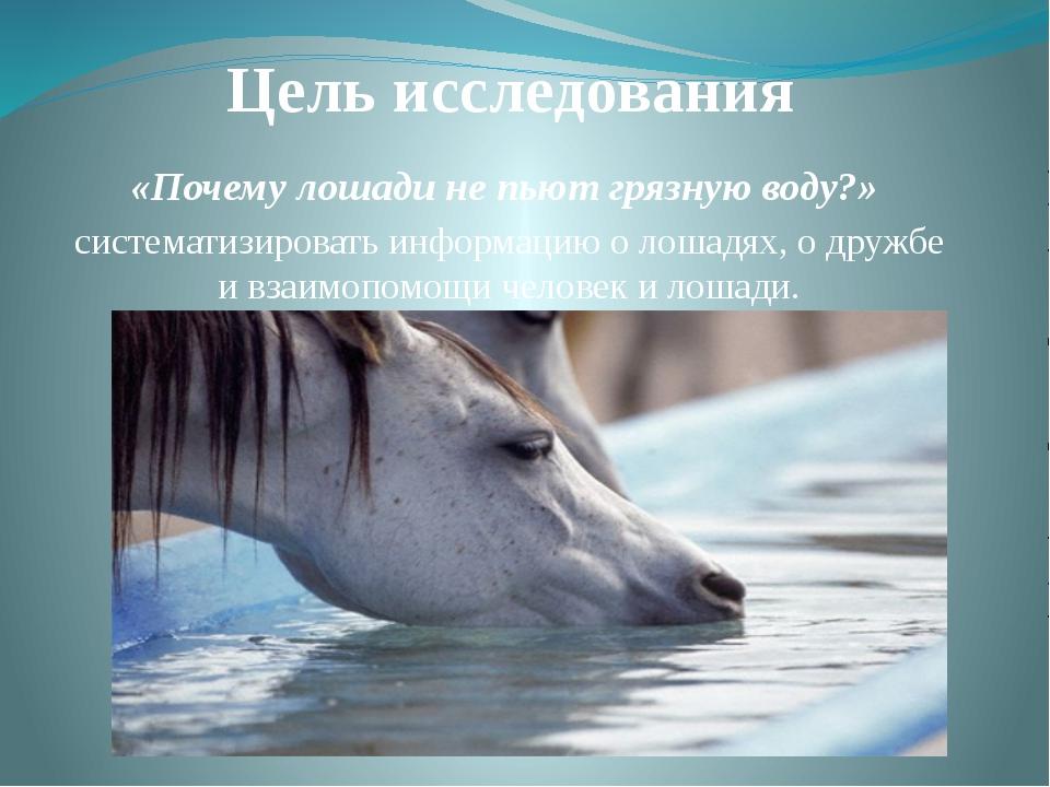 Цель исследования «Почему лошади не пьют грязную воду?» систематизировать инф...