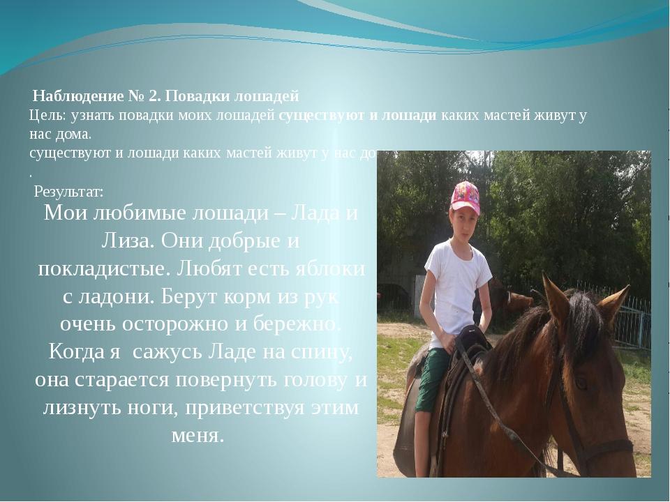 Наблюдение № 2. Повадки лошадей Цель:узнать повадки моих лошадей существу...