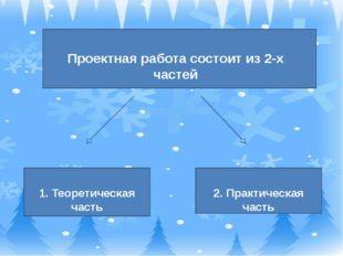Проектная работа состоит из 2-х частей 1. Теоретическая часть 2. Практическа