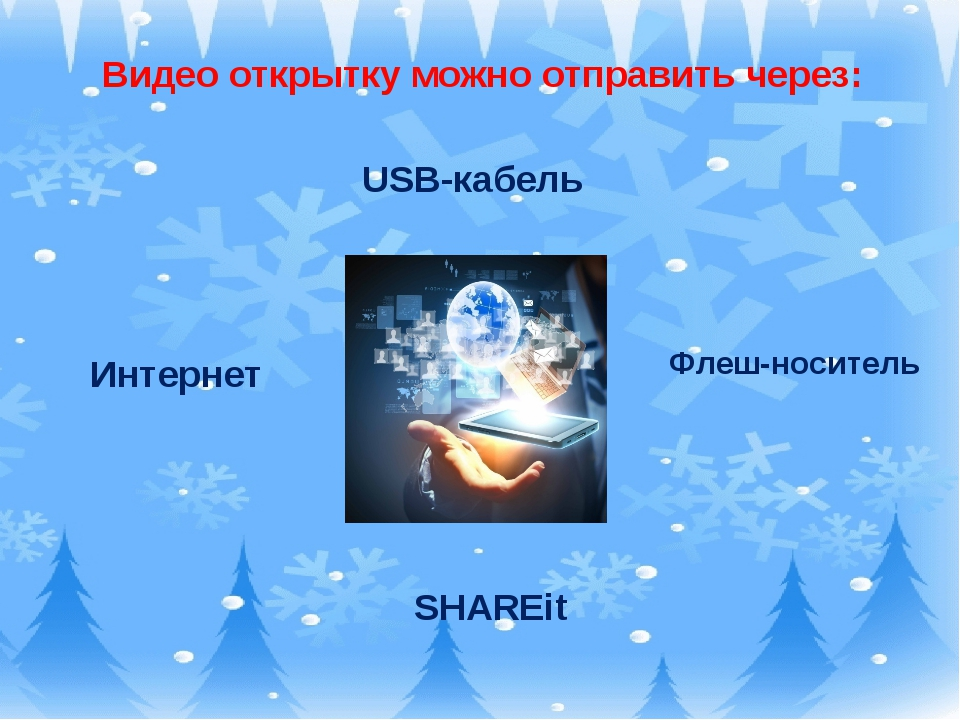 Видео открытку можно отправить через: Интернет Флеш-носитель SHAREit USB-каб...