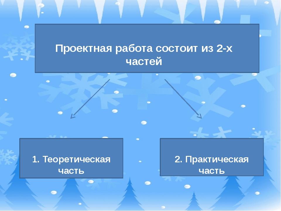 Проектная работа состоит из 2-х частей 1. Теоретическая часть 2. Практическа...