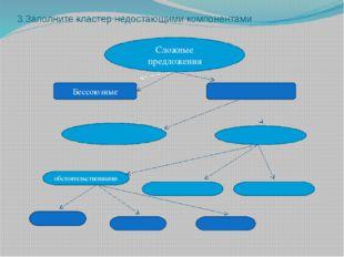 3.Заполните кластер недостающими компонентами Сложные предложения Бессоюзные