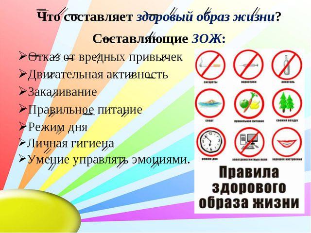 Что составляет здоровый образ жизни? Составляющие ЗОЖ: Отказ от вредных привы...