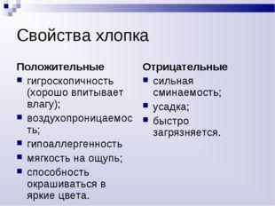 Свойства хлопка Положительные гигроскопичность (хорошо впитывает влагу); возд