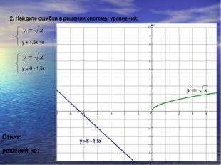 2. Найдите ошибки в решении системы уравнений: у + 1,5х =8 Ответ: решений нет