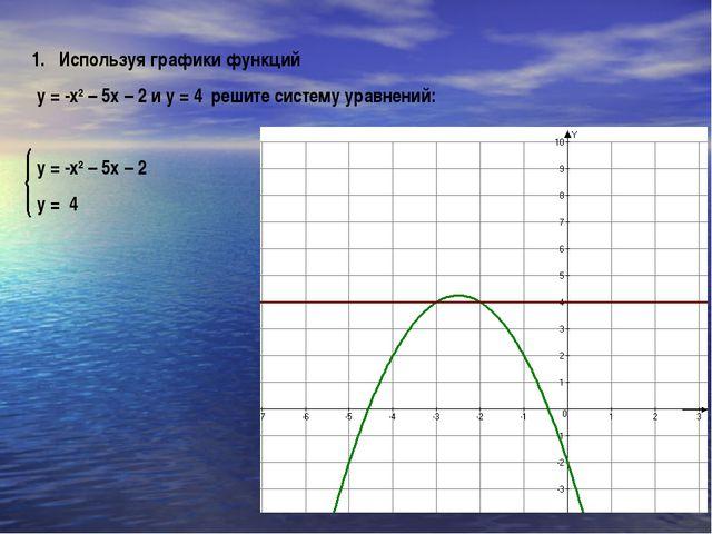 Используя графики функций у = -х2 – 5х – 2 и у = 4 решите систему уравнений:...